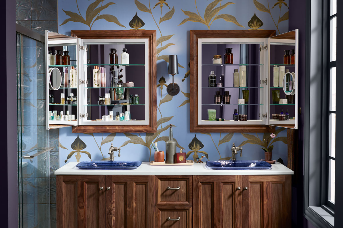Damask Vanity    Inia Sink    Artifacts Faucet    Verdera Medicine Cabinet    Damask Medicine Cabinet Surround    Keep small beauty items ready at your fingertips with a mirrored medicine cabinet that lets you effortlessly move through your morning routine.