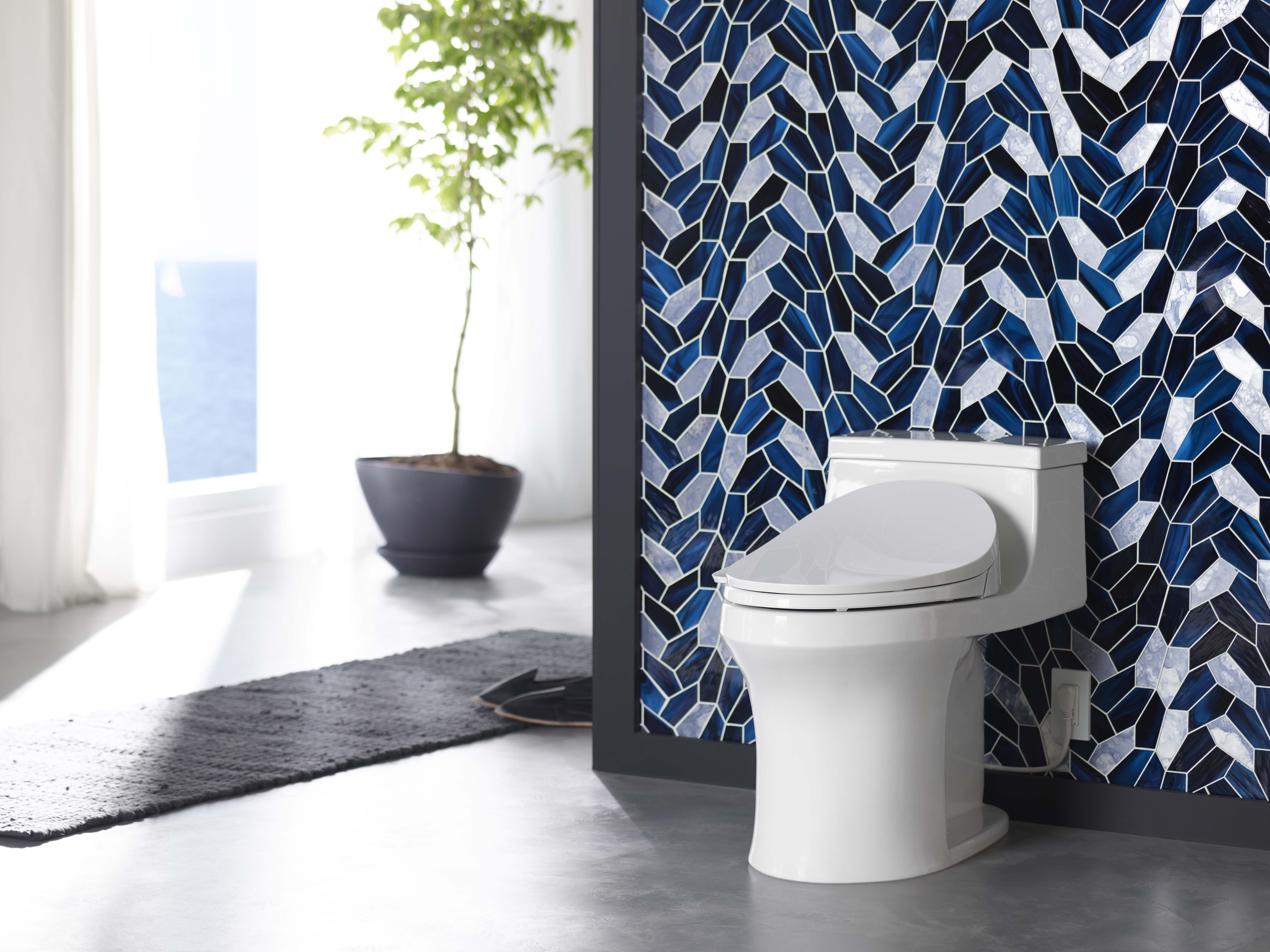 San Souci Toilet     CS-230 Cleansing Toilet Seat     ANN SACKS® Chrysalis Mosaics Tile     The artful detail of a reflective glass backdrop accentuates the simplicity of this one-piece toilet design.