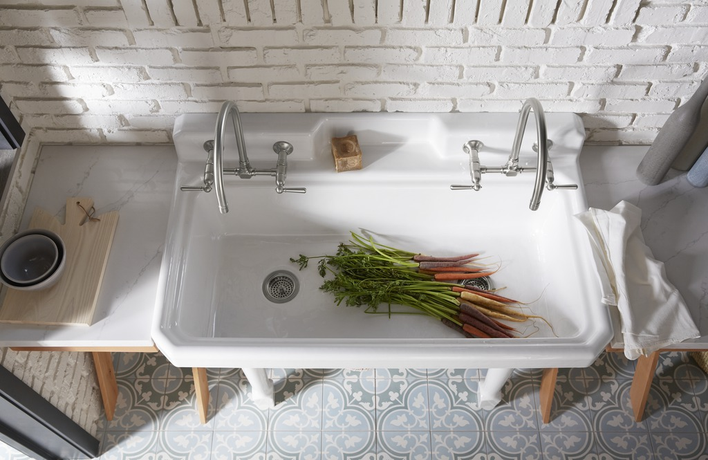 Silestone Eternal Calacatta Gold countertop     HiRise Wall-Mount Kitchen Sink Faucet     Harborview Utility Sink     Garden fresh takes on a whole new meaning with this utility sink's HiRise faucets and deep sink basin that make washing vegetables just as convenient as picking them from the garden just outside.