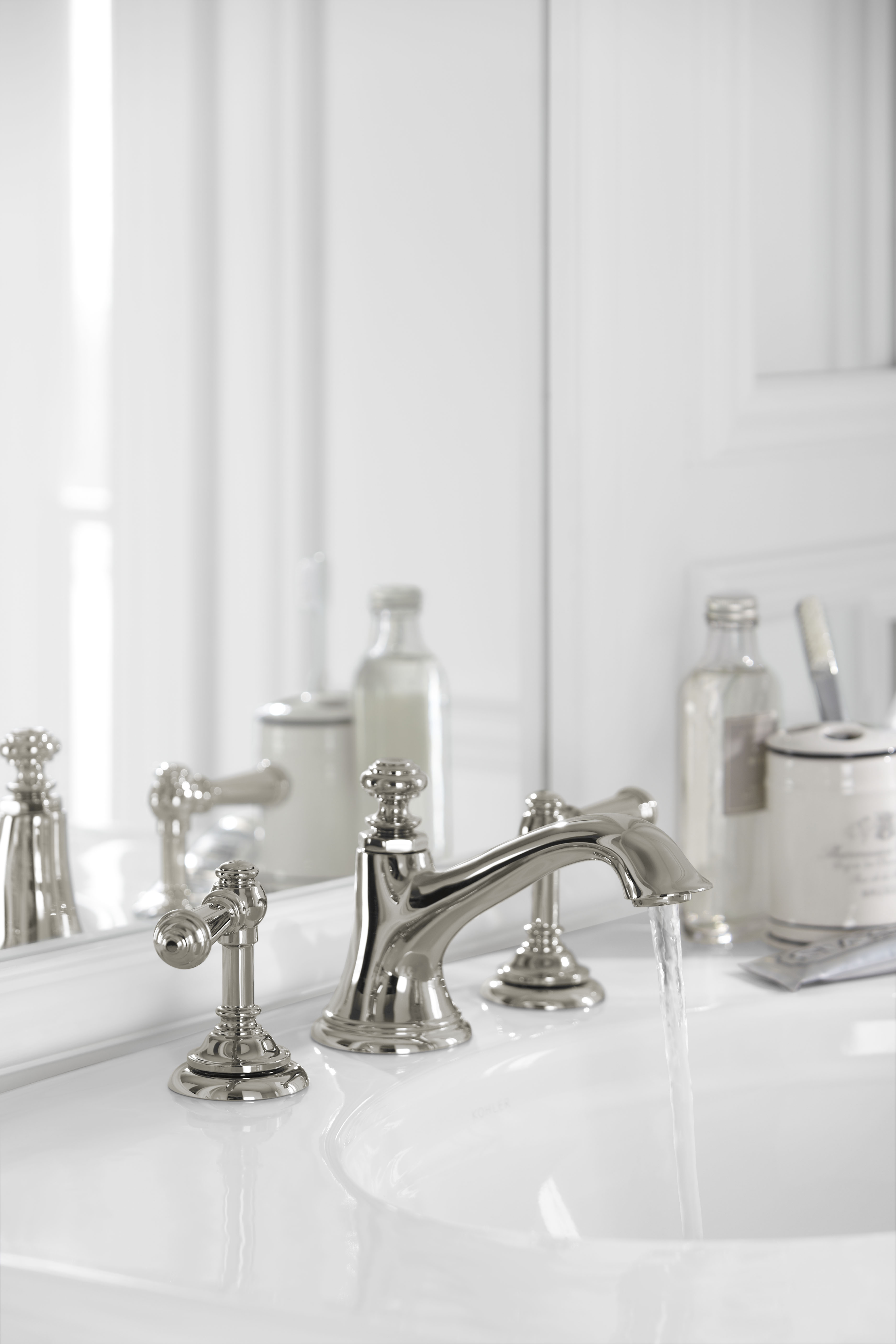 Artifacts Faucet Spout     Artifacts Faucet Handles     Bancroft Sink     With its subtle color, this Vibrant Polished Nickel finish embellishes the faucet's elegant detailing, while elevating this classic white space.