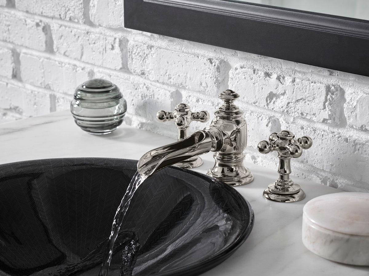 Artifacts Flume Spout     Artifacts Cross Handles     Sartorial Paisley Sink    An open-spout faucet brings a touch of nostalgia to the bathroom and highlights the beauty of water as it flows into the sink.