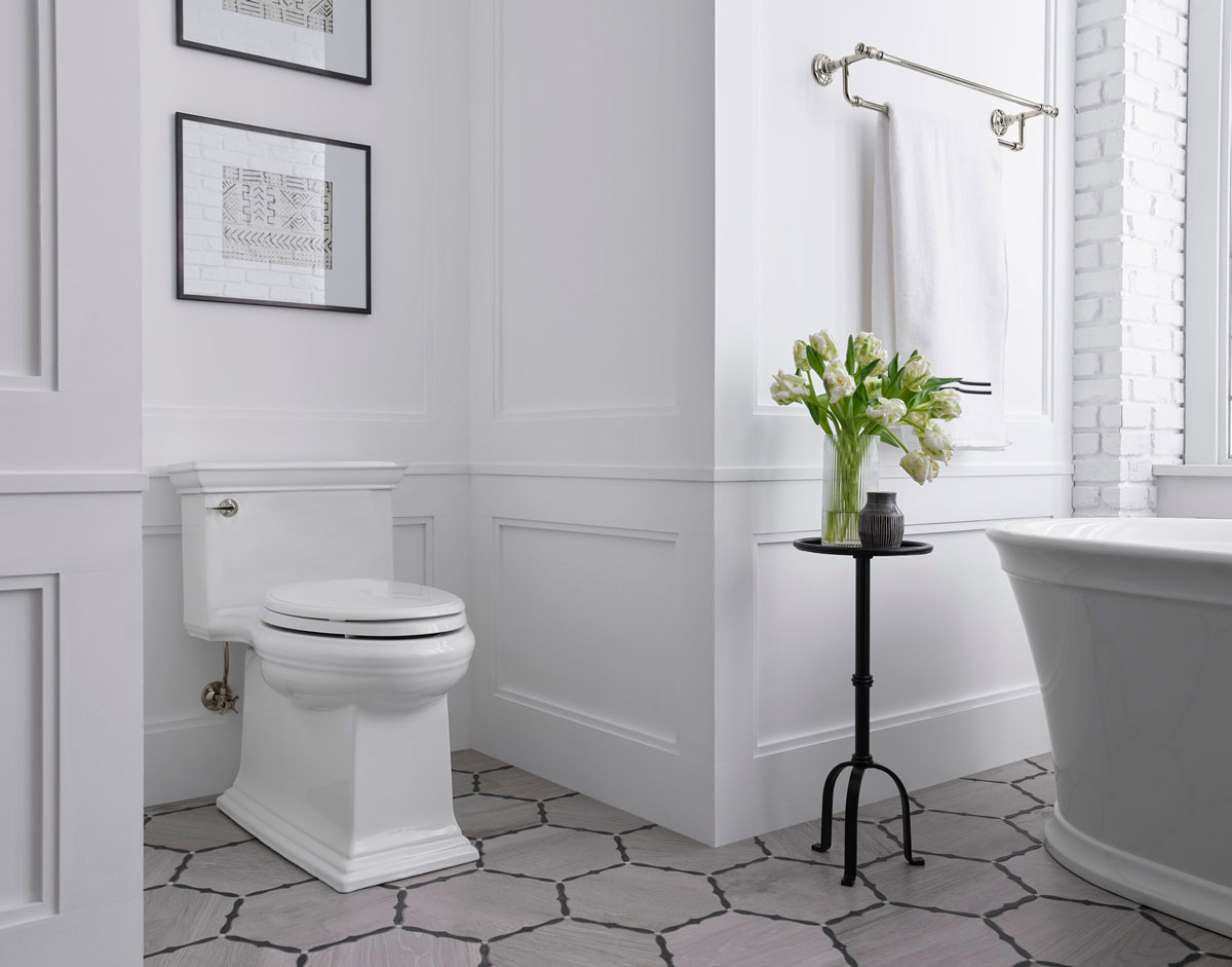 Memoirs Stately Toilet   A skirted base adds to the one-piece toilet's clean design, no seams or S-curves, just smooth surfaces punctuated by traditional lines.