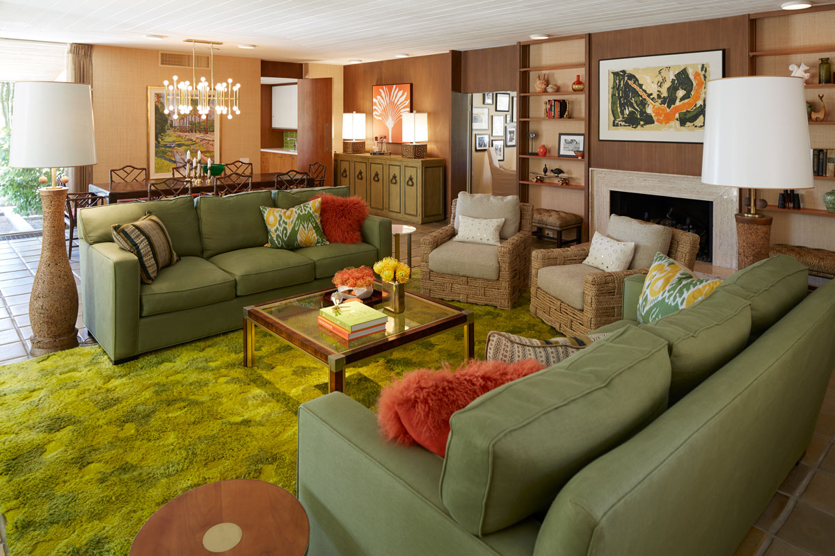 A mix of unique finds from Palm Springs antique dealers and pieces original to the home, the living room is a showcase of mid-century modern design.