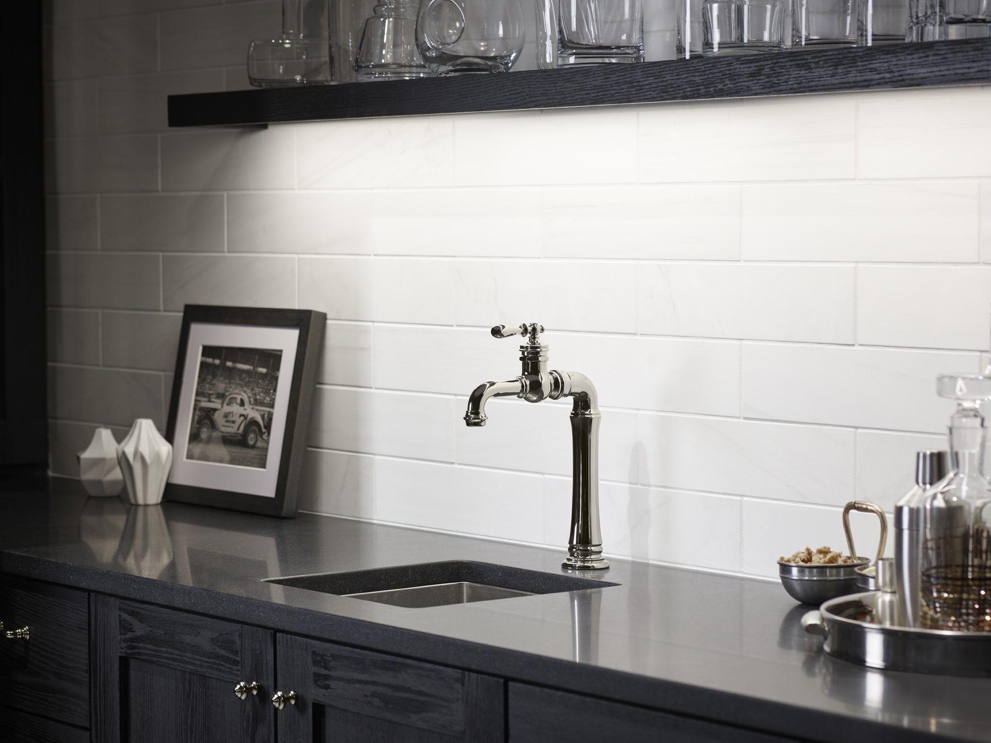 Artifacts Gentleman's bar faucet     Strive bar sink     Dolomite Corina     An ideal setup for the amateur mixologist, the Strive® sink and Artifacts® faucet duo combine to simplify drink prep and cleanup.