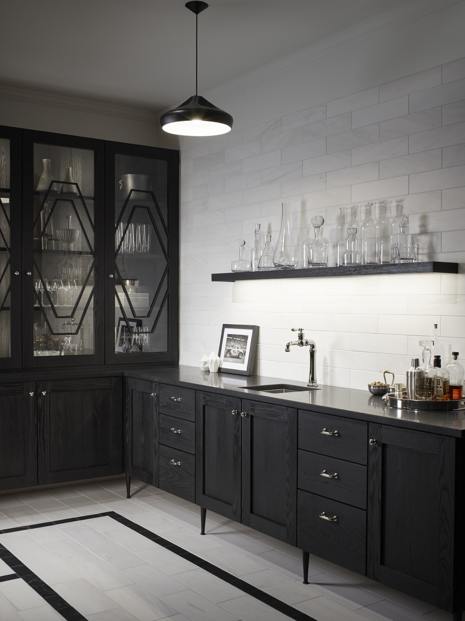Artifacts Gentleman's bar faucet     Strive bar sink     Nero Marquina     Dolomite Corina     The formal butler's pantry is enjoying a bit of a renaissance, and the bar faucet adds the right dash of vintage charm.