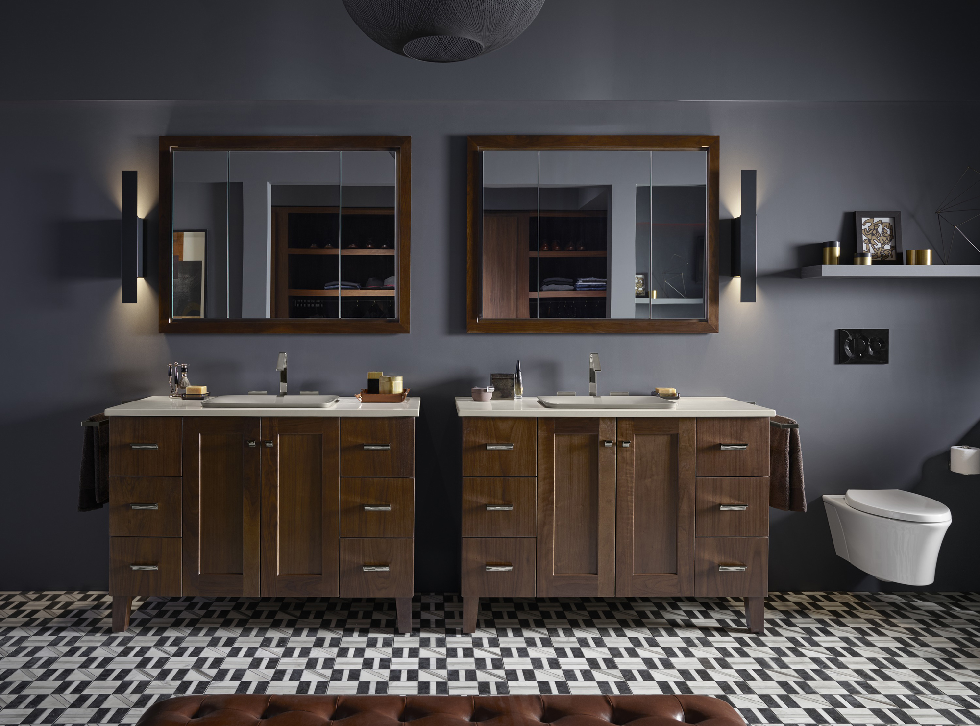 Poplin® vanity    Carillon® Wading Pool® sink    Verdera® medicine cabinet    Veil® toilet    Poplin® medicine cabinet surround     Coordinating vanities and medicine cabinets provide organized storage–ensuring everything's right where you need it for those busy mornings.