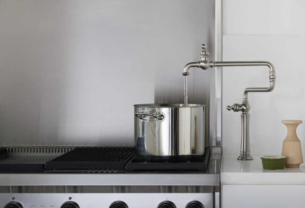 Artifacts pot-filler faucet  Melding old-school style and meaningful function, the pot-filler faucet is indispensable to serious cooks.