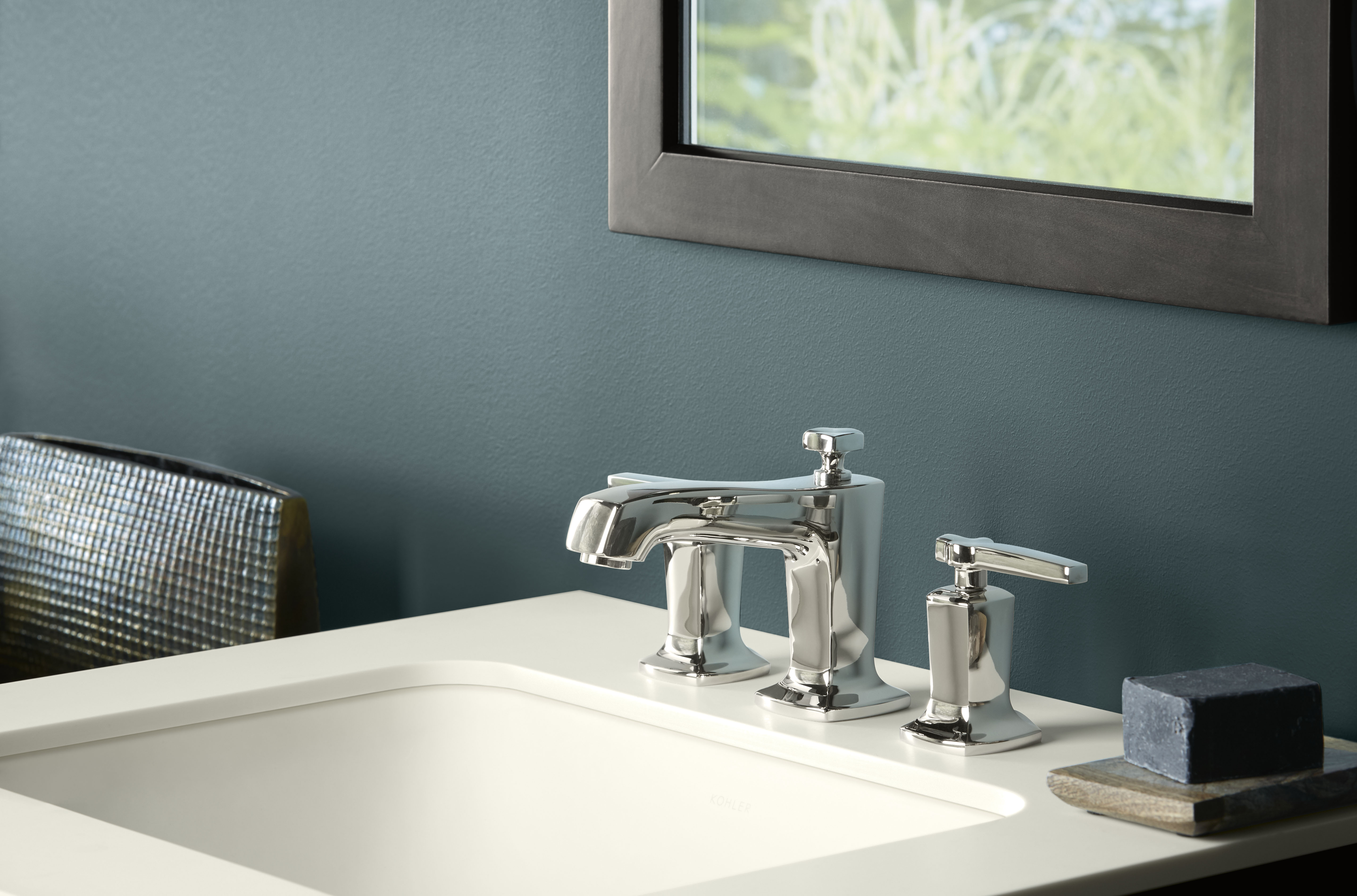 Margaux Faucet     Caxton Sink     The Vibrant Polished Nickel finish on this faucet adds brightness to the organic, nature-inspired environment.