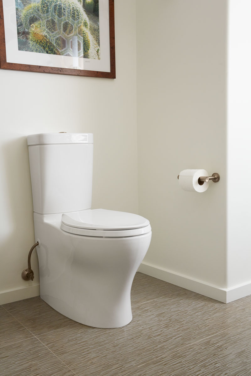Persuade Circ Toilet    A dual-flush skirted toilet not only adds a classic look to this bathroom, it maximizes water savings — a key consideration for residence in the Palm Springs area.
