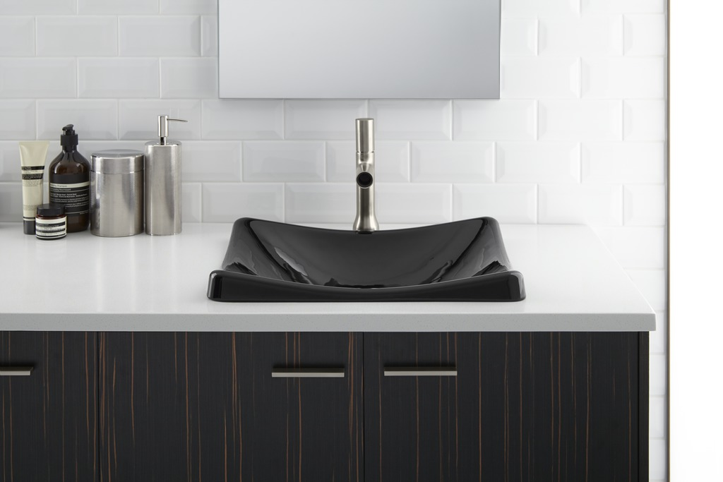 Toobi faucet   DemiLav sink   Jute vanity   Modern design encourages products with plenty of personality.