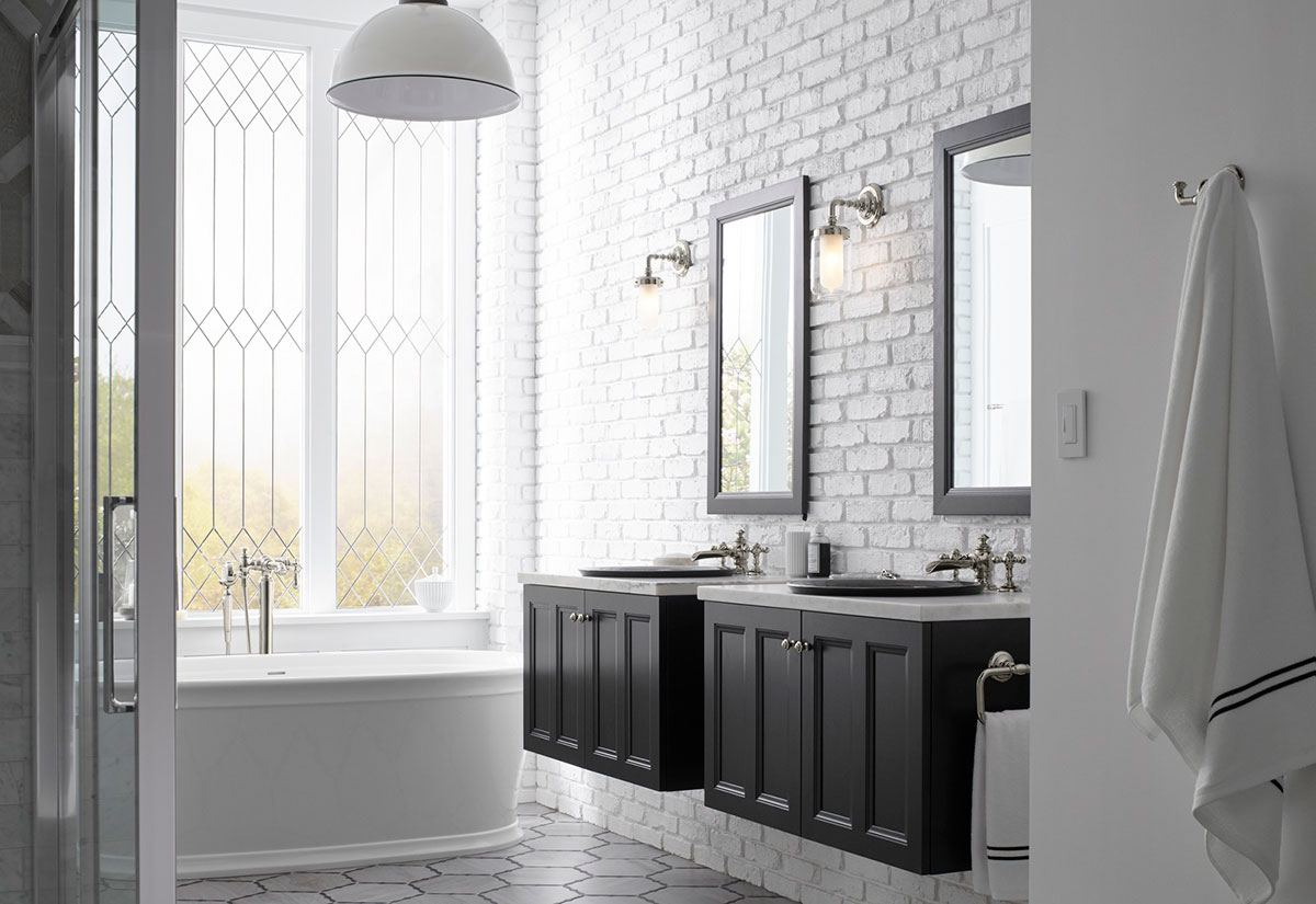 Damask Framed Mirror    Damask Vanity   Sartorial Paisley Sink    Memoirs Freestanding Bath    A traditional white-and-black palette is made more compelling with layers of varied texture from brick to wood and stone to glass.