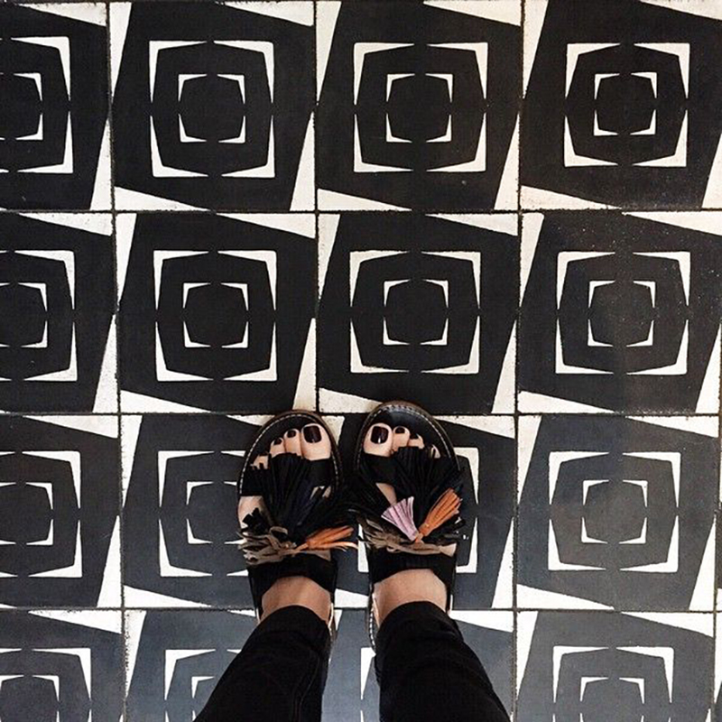 Lewis is a big fan of bold-patterned tile, and posts examples of favorites, paired with her enviable shoe wardrobe, every chance she gets.   @AmberInteriors