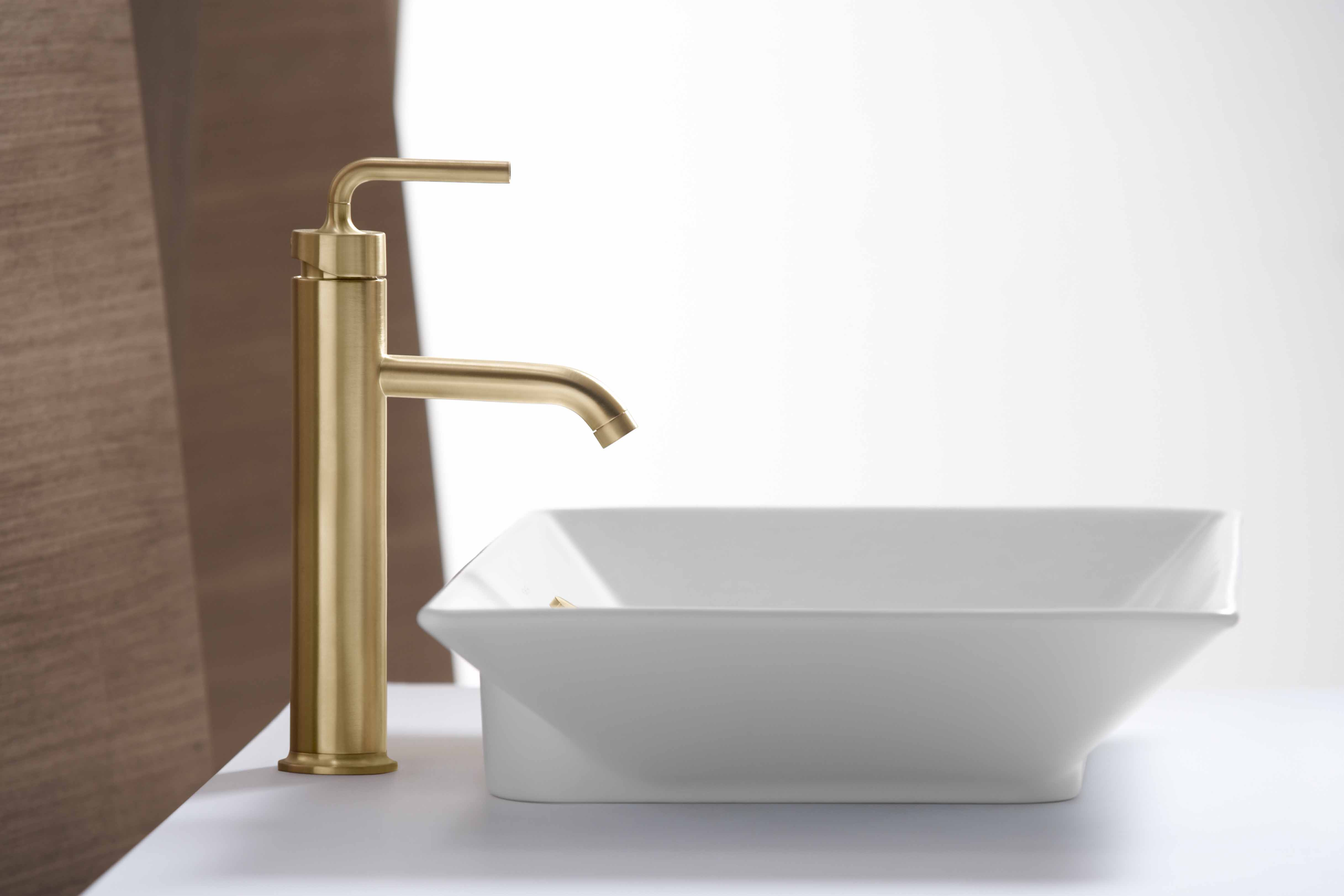 Purist Faucet     Rêve Sink     A Vibrant® Brushed Moderne Gold finish can add a pop of color to a simple faucet.
