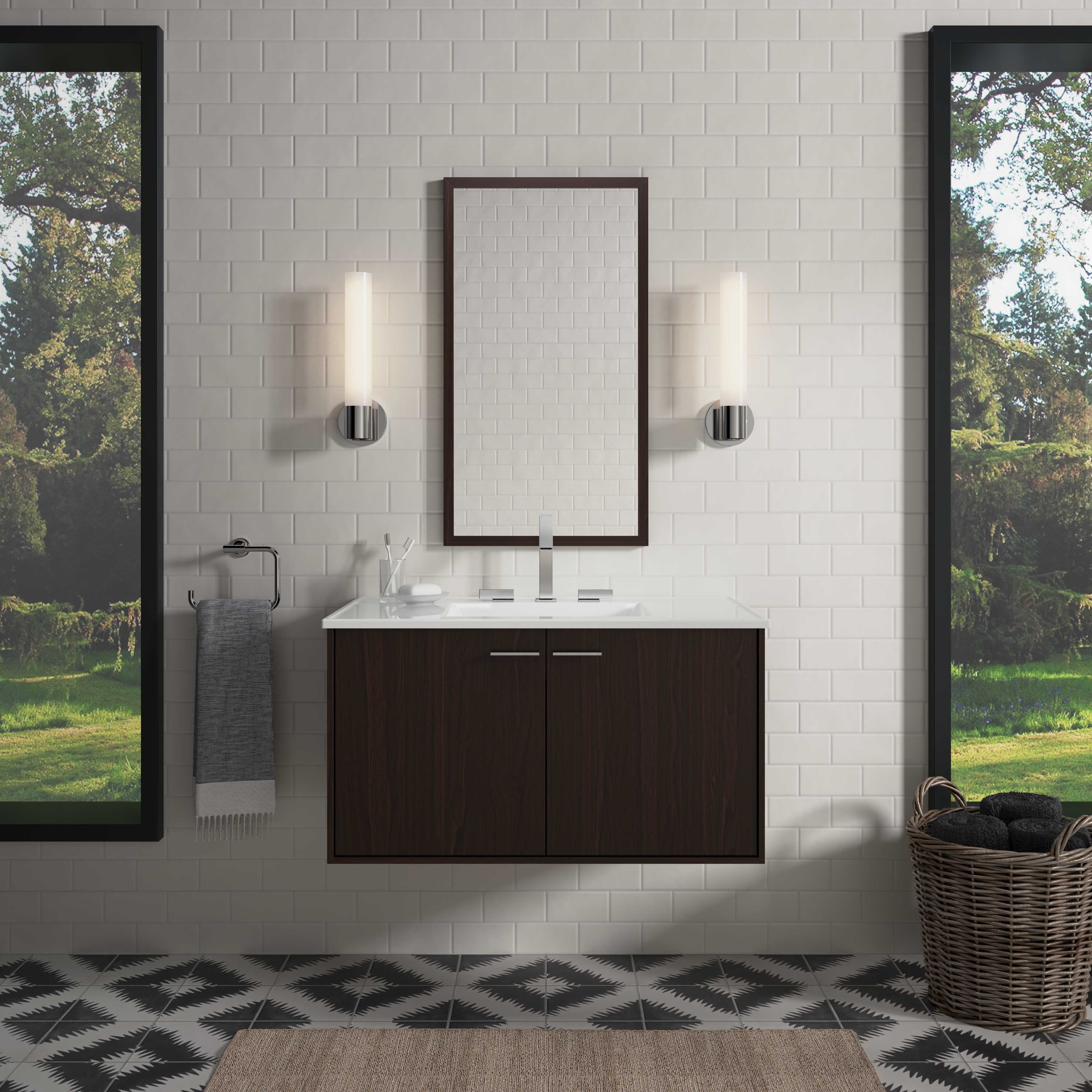 Jute® Vanity     Jute legs     Verdera medicine cabinets     Toobi® Faucet     The horizontal lines of the vanity and surrounding wall contrast nicely with the curved edges of the sinks and toilet to create a striking composition.
