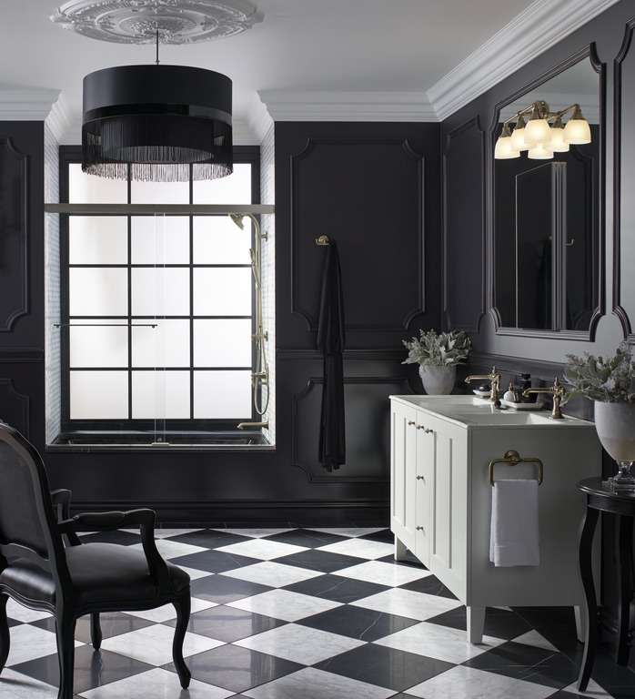 Devonshire wall sconce   Artifacts faucet   Poplin vanity   Artifacts towel ring   Light streams in, illuminating decorative details that brings black walls to vivid life.