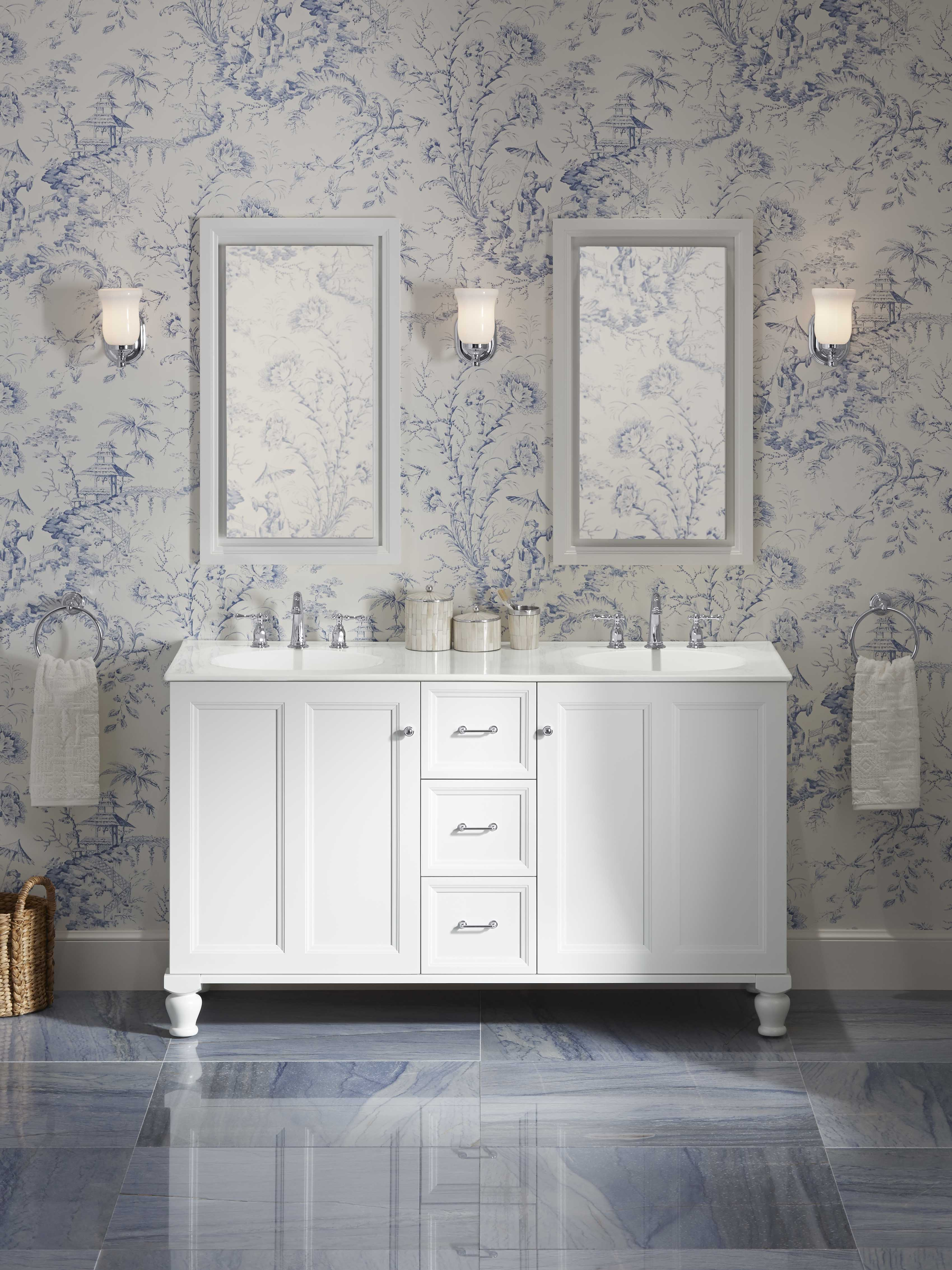 Jacquard® Vanity     Jacquard Mirror     Stillness® Faucet     Coordinating finishes on the towel ring, faucet and vanity hardware provide consistency within a pattern-rich room.