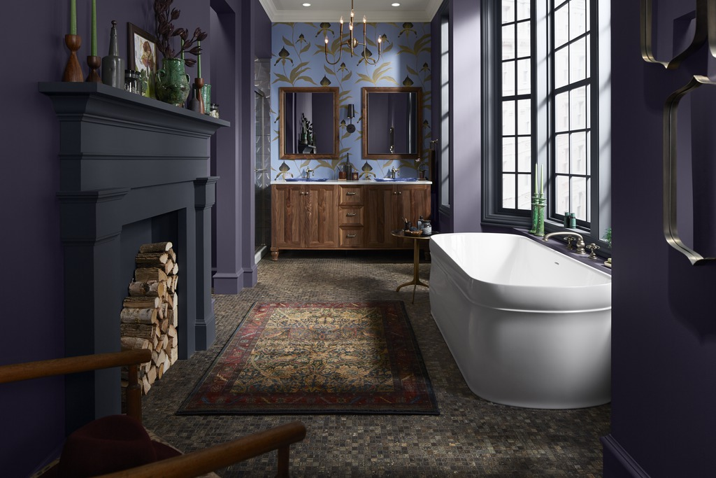 Chess Freestanding Bath    Damask Vanity    Inia Sink    Artifacts Faucet      A bath, vanity and toilet with semi classic details pair with the traditional architectural style of the home, creating a look that's updated and elegant.