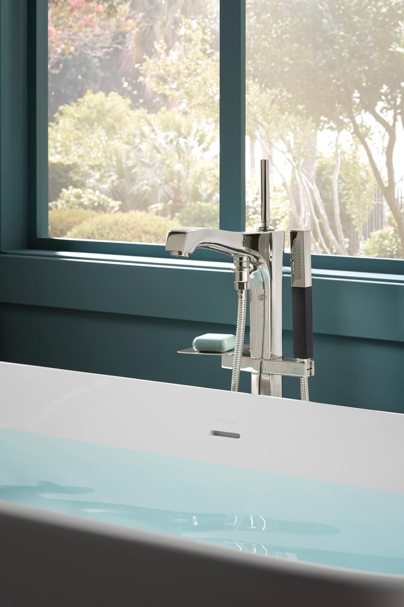 Imperator Freestanding Bath    Margaux Bath Filler   An all-in-one solution, the floor-mount bath filler delivers contemporary style and convenience with an integrated soap holder and handshower.