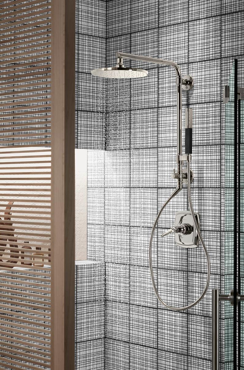 Hydrorail Shower Column    Shift Handshower    Contemporary Rainhead   Playing on the popularity of room screens, the shower area is set off by a contemporary slatted screen to provide privacy and enhance the light.
