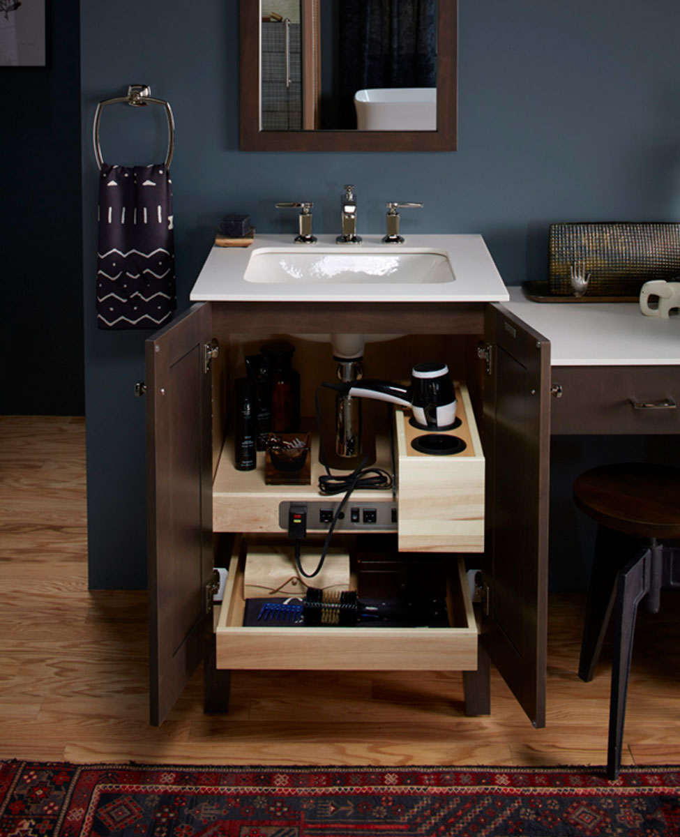 Shelf with Electrical Outlets    Roll-Out Tray    Roll-Out Drawer   Vanity accessories help create well-organized spaces that let you begin and end your days with added peace of mind.