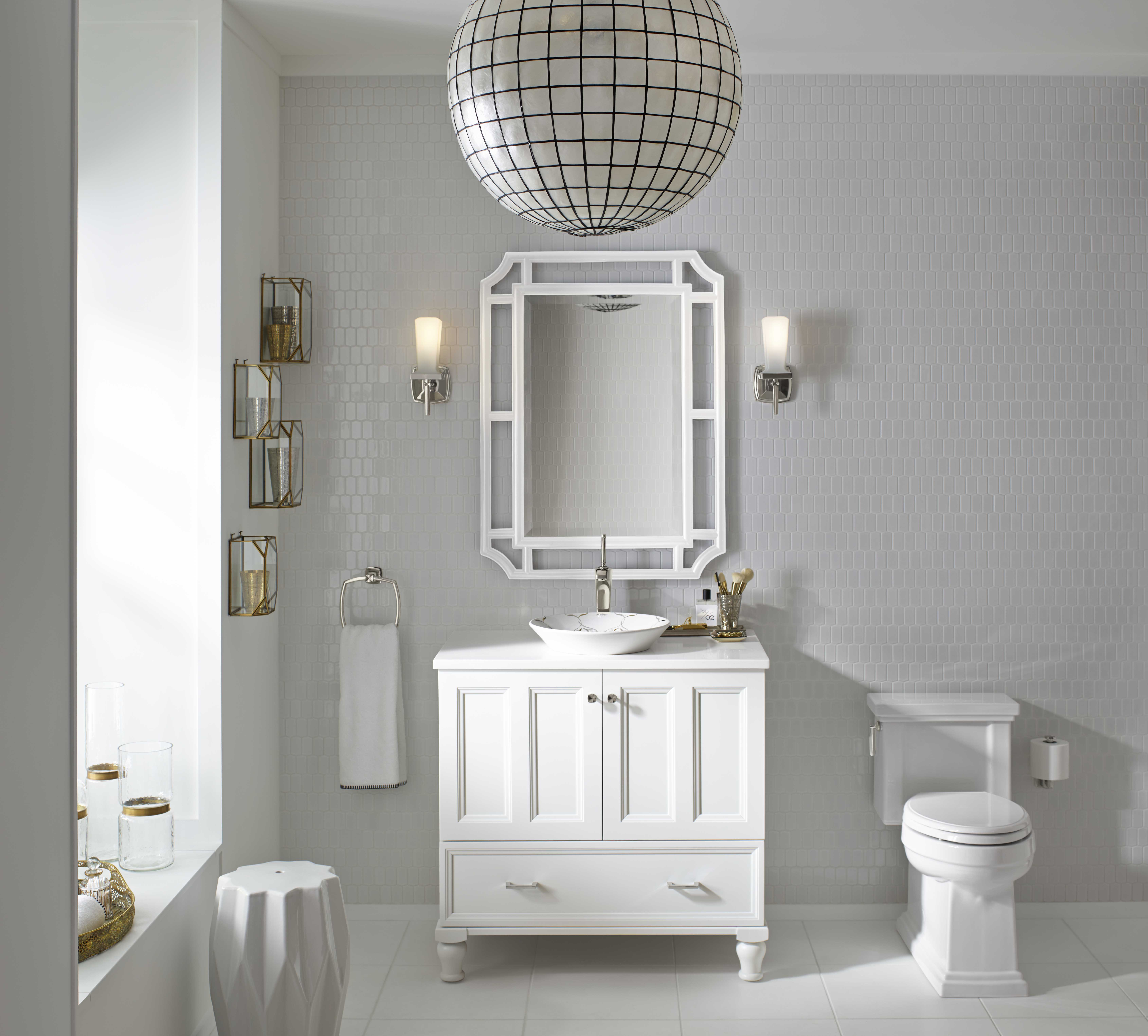 Damask® Vanity     Damask medicine cabinet surround     Verdera medicine cabinet     A wider vanity with two mirrors can make sharing the styling space easier.