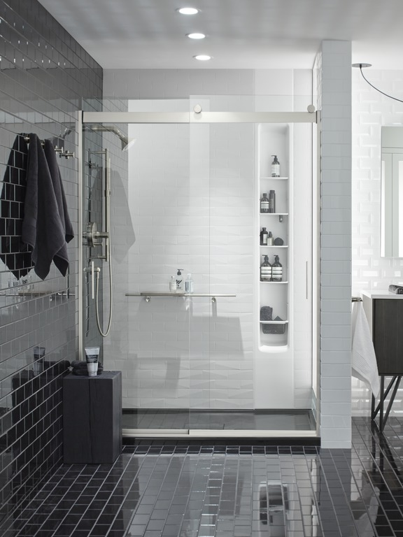 Choreograph Brick wall kit   Choreograph shower locker   Choreograph shower barre  and  teak tray   Archer shower base   Neat storage shelves help keep everything tidy and organized in the shower.