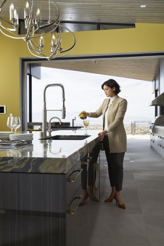 Riverby® kitchen sink    Purist® semiprofessional kitchen faucet    Sliding glass doors retract into the walls, connecting the interior with the fresh air and scenery beyond. The perfect place to unwind after a long day.