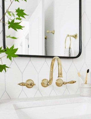 Caxton Rectangle under-mount bathroom sink    Finial Traditional wall-mount bathroom sink faucet    The elegant arch of the faucet spout and a warm gold finish create an organic sense of poise and expression, and the wall-mount design is ideal for undercounter or vessel sinks.