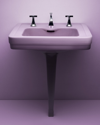 This is our 1929 Merritt sink in Lavender, one of the original six KOHLER pastel colors. Inspired? Find your perfect space-saving pedestal sink, available in a range of styles from traditional to modern. For a splash of color, check out our recent Shadows collection including Lavender Grey, Indigo Blue and Black Plum.    Pedestal Sinks   Explore Lavender Grey   Explore Indigo Blue   Explore Black Plum