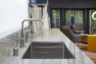 Strive Kitchen Sink    Purist Kitchen Faucet   The Strive kitchen sink and Purist kitchen faucet keep the modern aesthetic playful and functional.