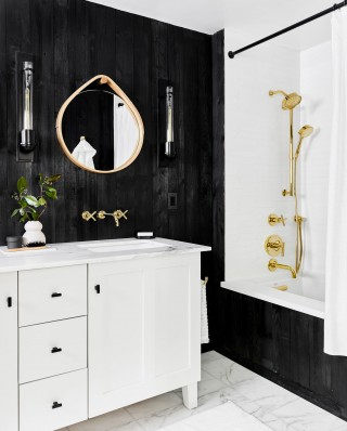 Awaken® handshower    Purist® showerhead    Purist bath spout    Underscore® bath    Multifunction bath/shower components in a warm gold finish add practical functionality to the indulgent style.