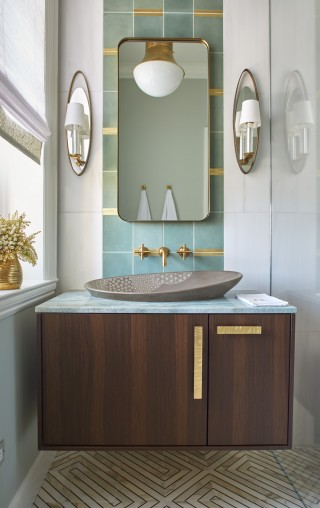 Kensho Vessel Sink    Purist Wall-Mount Faucet    Jute Vanity    The juxtaposition of warm gold with cool turquoise and geometric shapes with an asymmetrical sink lends a perfect sense of proportion and balance.