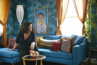 Justina Blakeney, founder of Bohemian lifestyle brand  Jungalow ,  in her colorful living room. She celebrates the creativity in decorating your home and employs color, pattern and plants to inspire others to design their dream homes.