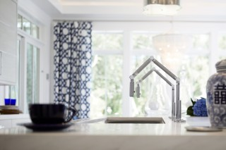 Karbon kitchen faucet    Prolific sink    Any way you look at it, the flexibility of the Karbon kitchen faucet is a must-have for this kitchen.