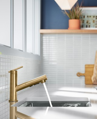 This small and mighty Crue kitchen faucet is perfect for compact kitchens.    Crue™ single-handle kitchen faucet