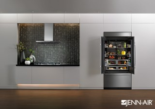 Clean, modern lines with a black color palette give this kitchen a cool, contemporary feel, allowing Jenn-Air's new Built-in refrigerator to make a dramatic statement in the space. The Obsidian...
