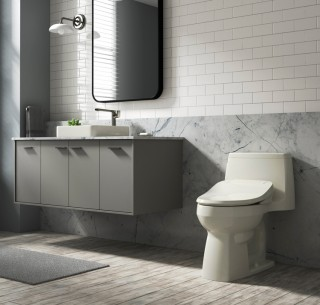 A slim tank and pared-down design make the Adair ®  a perfect choice for compact spaces, and the addition of a bidet seat makes for a more enjoyable experience.    Adair® Comfort Height®   C³®-155 elongated bidet toilet seat