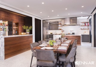 Imported Italian marble, seating with details of distressed leather, and walnut accents help give this kitchen designed by Mark Morton its unique, modern composition. Further elevating the design is the...