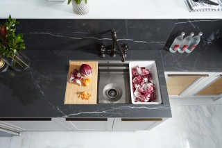 Artifacts bridge kitchen faucet   Prolific® kitchen sink    Included accessories make this kitchen sink all the more streamlined.