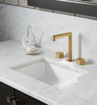 The modern yet timeless look and feel of the Components ™  collection* pairs perfectly with the refined warmth of this finish.    Components™ bathroom sink spout (Row design)   Components™ bathroom sink handles (Oyl design)   Verticyl® Rectangle Undermount bathroom sink   *(Components available soon in Vibrant ®  Brushed Moderne Brass)