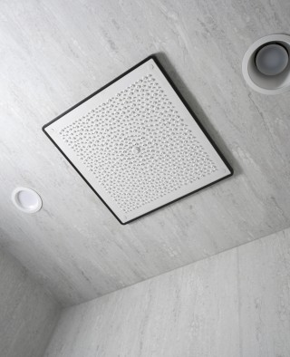 Real Rain overhead panel   Real Rain overhead panel trim    The Real Rain shower panel creates a luxurious, rain-like experience.