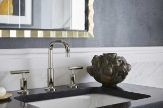 Purist Sink Faucet    Caxton Rectangle Sink   The height of the Purist® bathroom faucet and sleek curves adds artistry to this contemporary space.