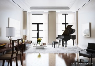 A modern parlor but with a classic Steinway & Sons piano, this space is defined by the Model M as well as by its geometric details.