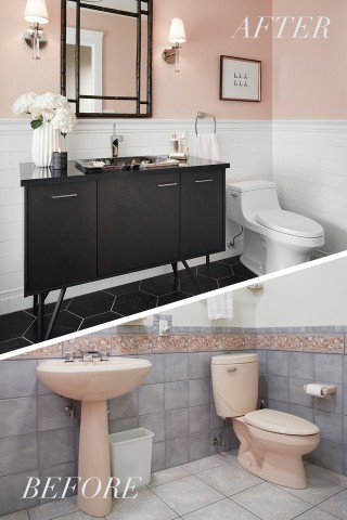 San Souci® toilet    Jute® vanity    Underscore Alcove Bath    Dutchmaster sink    Margaux® sink faucet    A few bold design choices took this bathroom from outdated to contemporary chic without changing the floor plan.