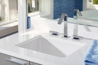 Loure faucet    Verticyl under-mount sink    Modern faucet and sink choices create intrigue without taking away from the peacefulness of the room.