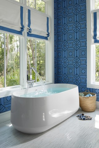 Ceric freestanding bath    Loure freestanding bath filler    Views in all directions turn bathing into the ultimate getaway.