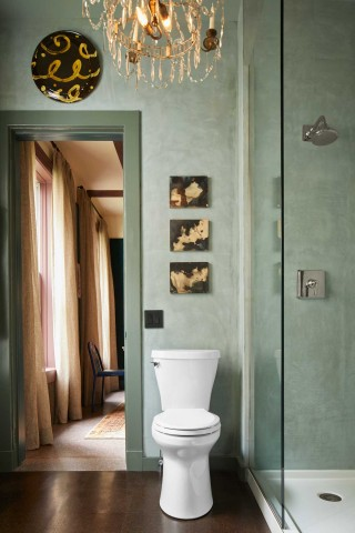 Betello Elongated Toilet    A bit of Gilded Age warmth punctuates the expanse of green and is anchored by the crisp white toilet and shower base.