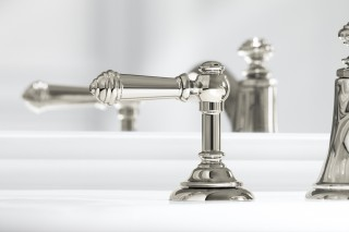 Artifacts® lever sink handles    Bancroft® pedestal sink    The vibrant polished nickel finish offers a beautiful contrast with the white china of the sink.