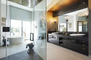 Veil™ freestanding bath    Purist® floor-mount bath filler    Veil trough vessel bathroom sink    Purist bathroom sink faucet