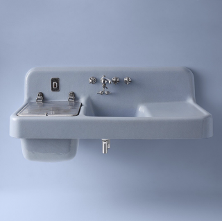 Our 1928 Electric Sink was an innovation ahead of its time with a built-in motorized dishwasher. Nearly 100 years later, we're still pushing what's possible in the kitchen.   Farmstead Sink With Accessories   Prolific Sink With Accessories   Touchless and Voice-Controlled Faucets